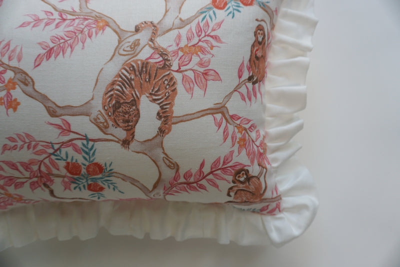Ruffle Lumbar Pillow Monkey and Tiger Dawn