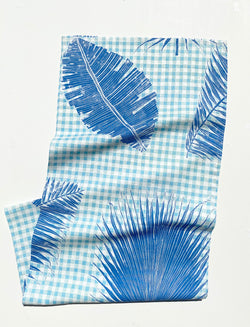 Table Runner Gingham Jungle Lapis