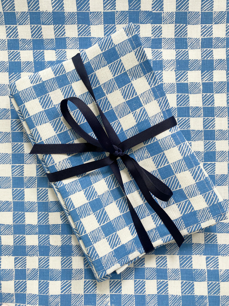 Block Print Gingham Napkins in Blue, Set of 4