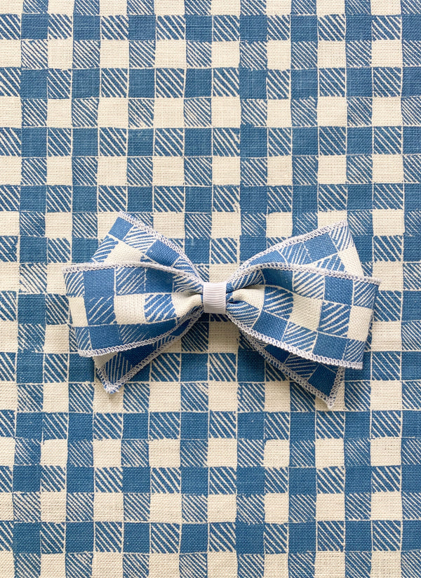 Linen Hair Bow Gingham Blue