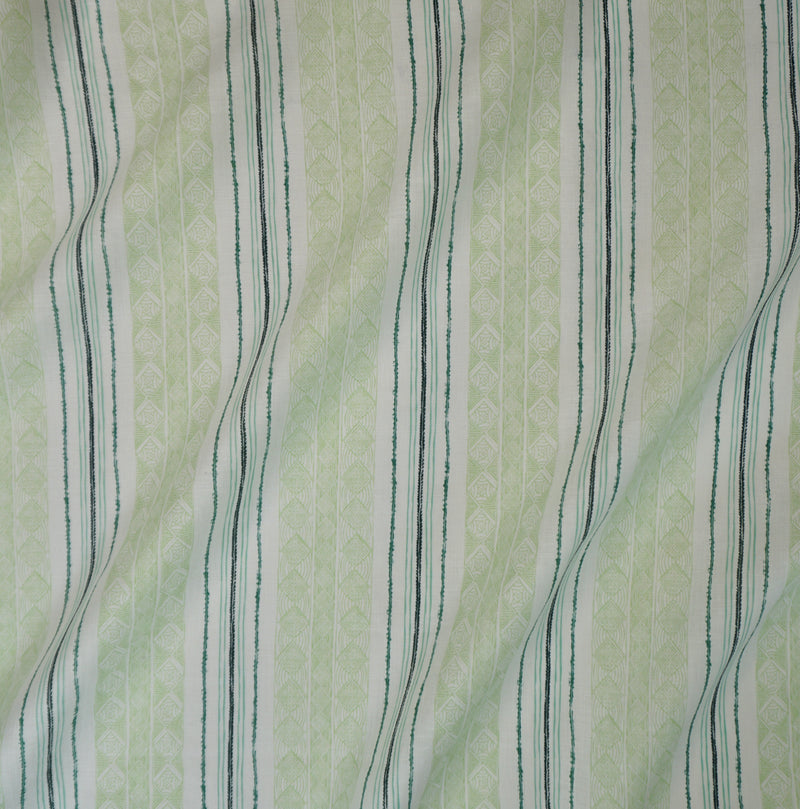 Block Print Stripe Fabric in Celery