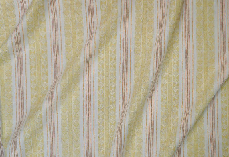 Block Print Stripe Fabric in Saffron