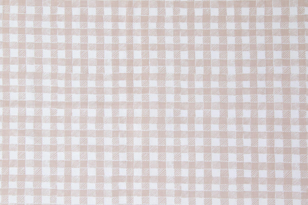 Block Print Gingham Fabric in Beige