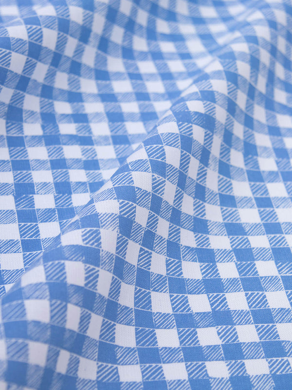 Block Print Gingham Fabric in Blue
