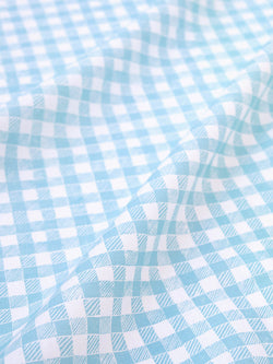 Block Print Gingham Fabric in Light Blue