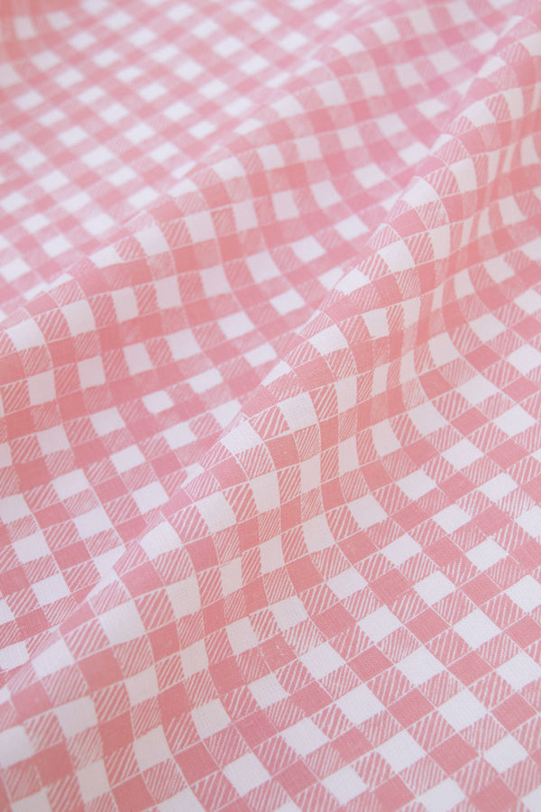 Block Print Gingham Fabric in Pink