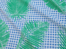 Gingham Jungle Fabric in Blue Chip Day