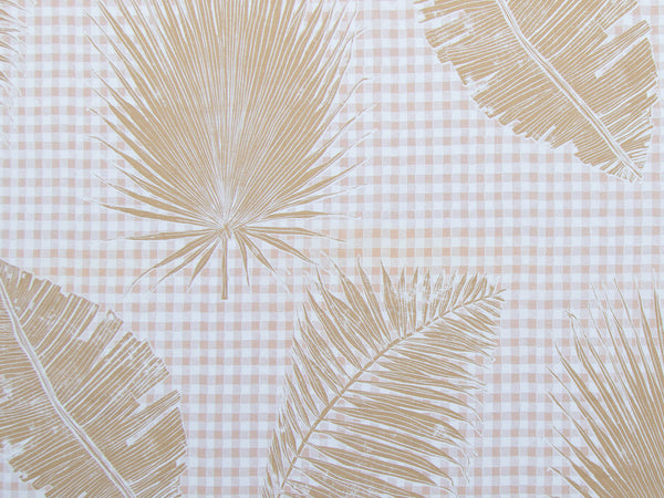 Gingham Jungle Fabric in Gold