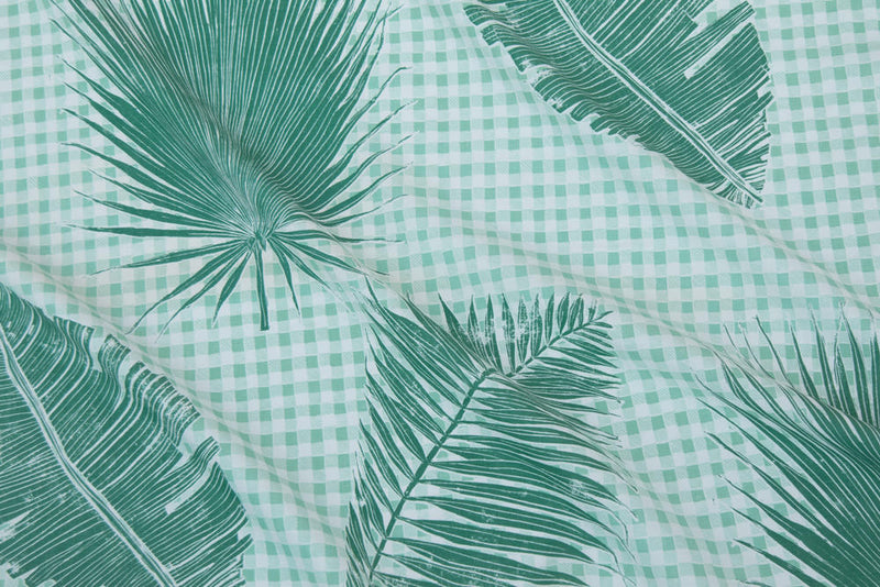 Gingham Jungle Fabric in Jade