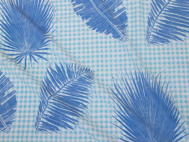 Gingham Jungle Fabric in Lapis