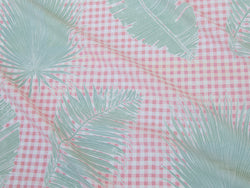 Gingham Jungle Fabric in Pink Sage