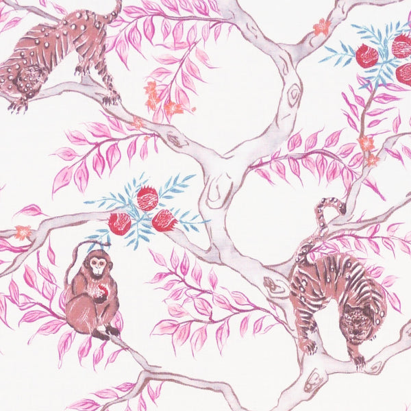 Monkey and Tiger Fabric in Dawn