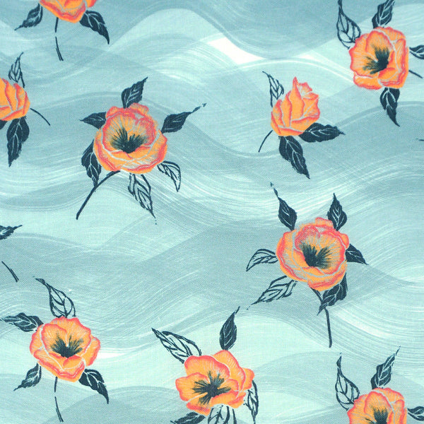 Painted Poppy Fabric in Celadon
