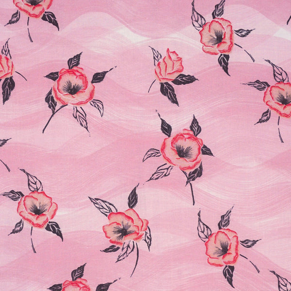 Painted Poppy Fabric in Strawberry