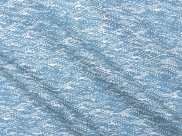 Painted Wave Fabric in Lake