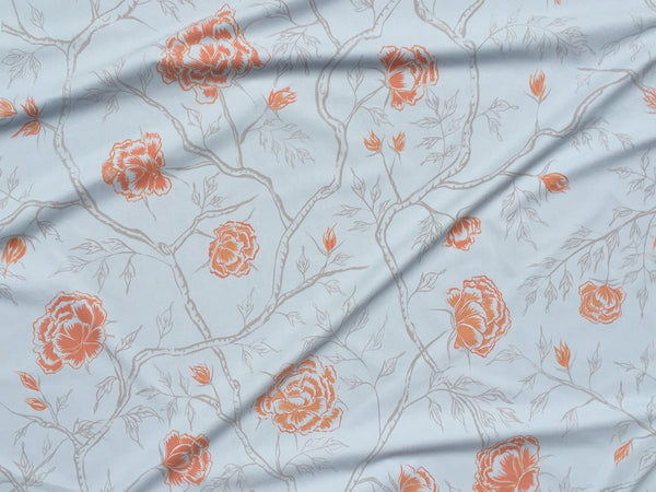 Peony Forest Fabric in Cerulean