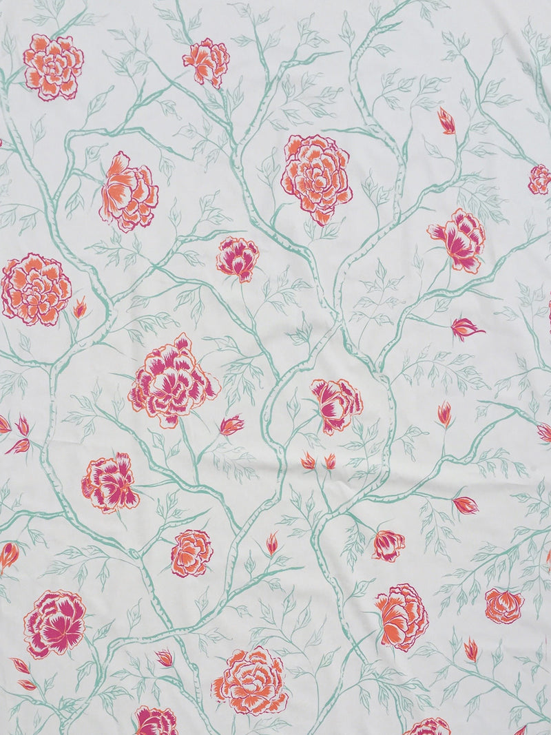 Peony Forest Fabric in Poppy