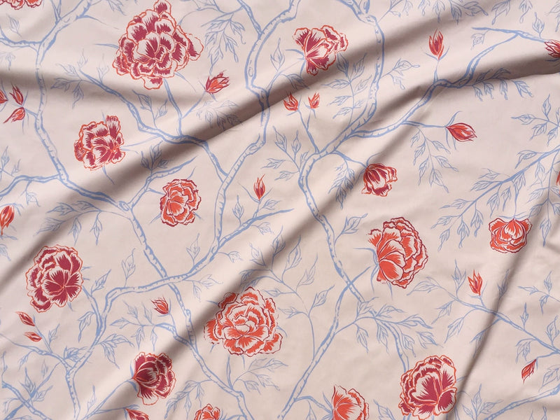 Peony Forest Fabric in Rose