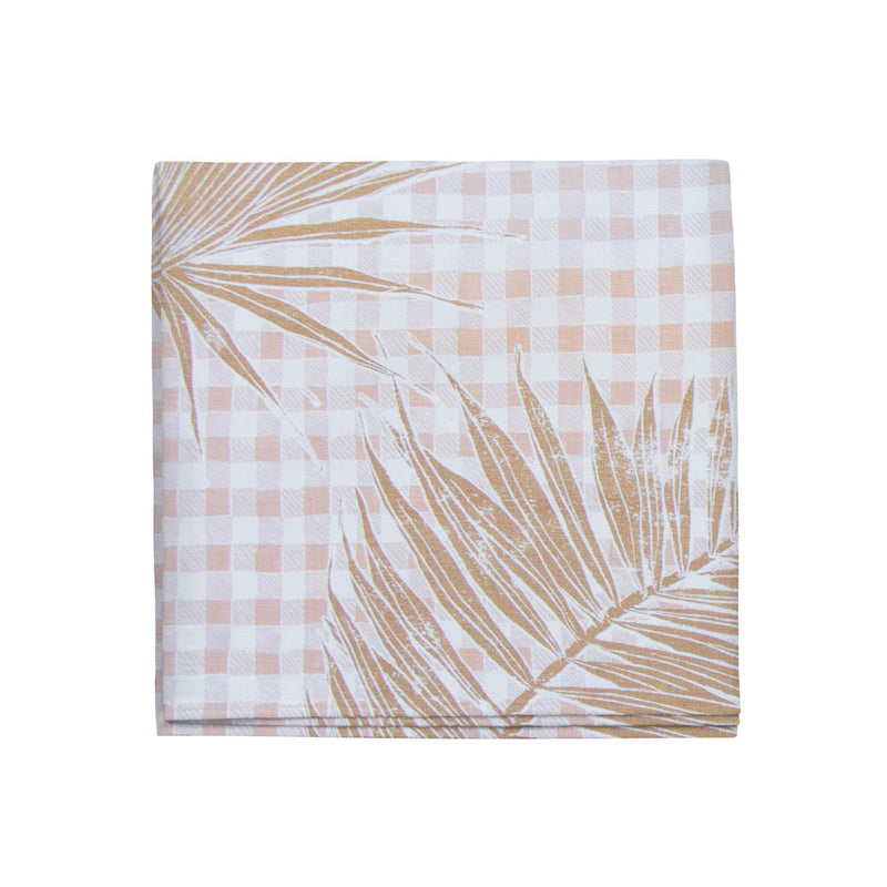 Gingham Jungle Napkins in Gold, Set of 4