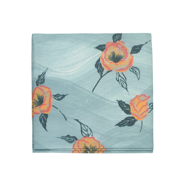 Painted Poppy Napkins in Celadon, Set of 4