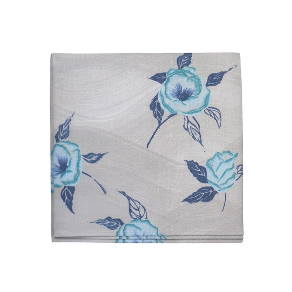 Painted Poppy Napkins in French Blue, Set of 4