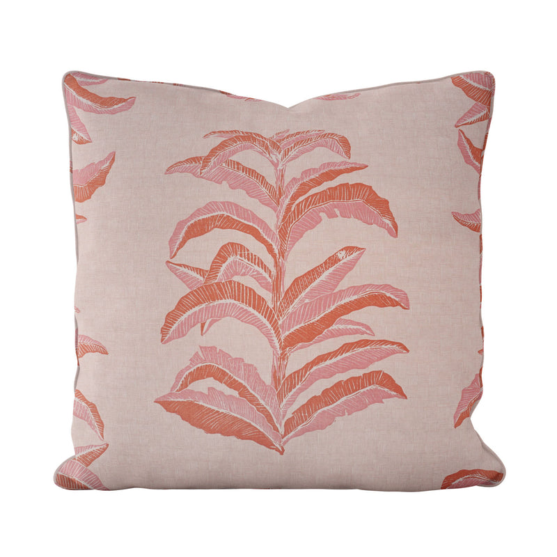 Banana Leaf Pillow in Coral Pink