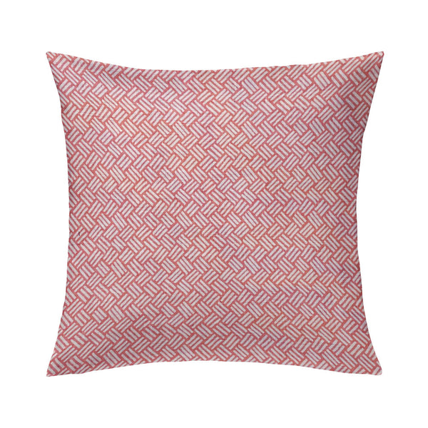 Basketweave Pillow in Coral Pink