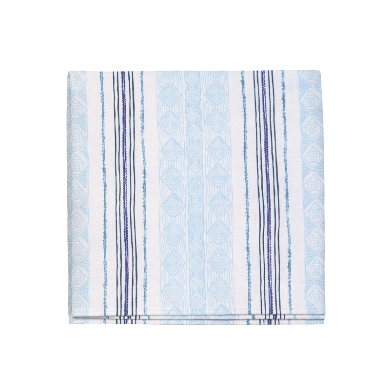 Block Print Stripe Napkins in Blueberry, Set of 4