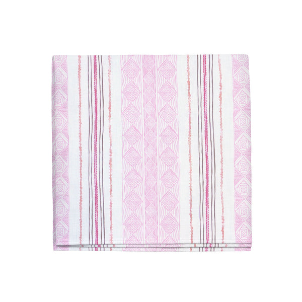 Block Print Stripe Napkins in Strawberry, Set of 4