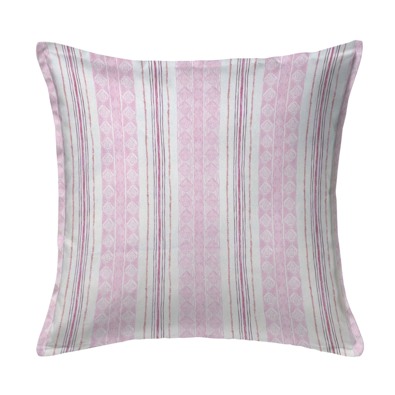Block Print Stripe Pillow in Strawberry