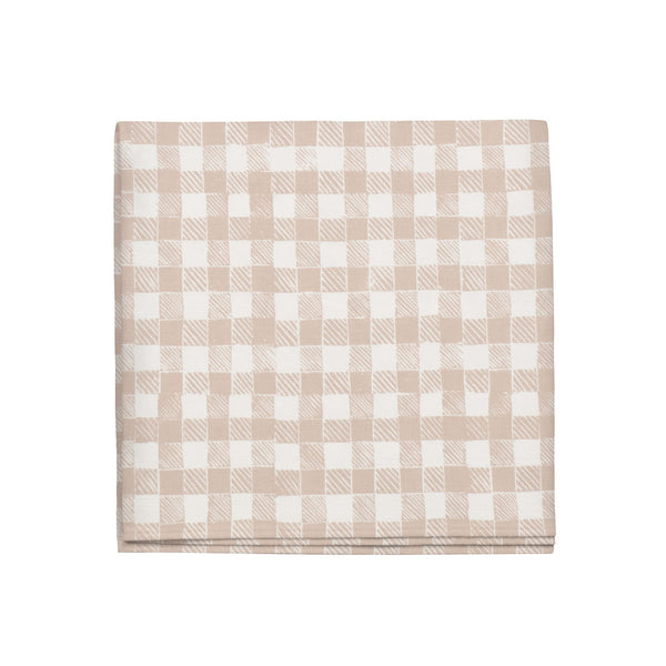 Block Print Gingham Napkins in Beige, Set of 4