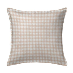 Block Print Gingham Pillow in Beige