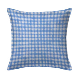 Block Print Gingham Pillow in Blue