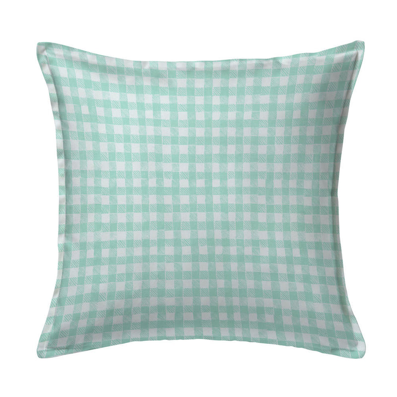 Block Print Gingham Pillow in Celadon