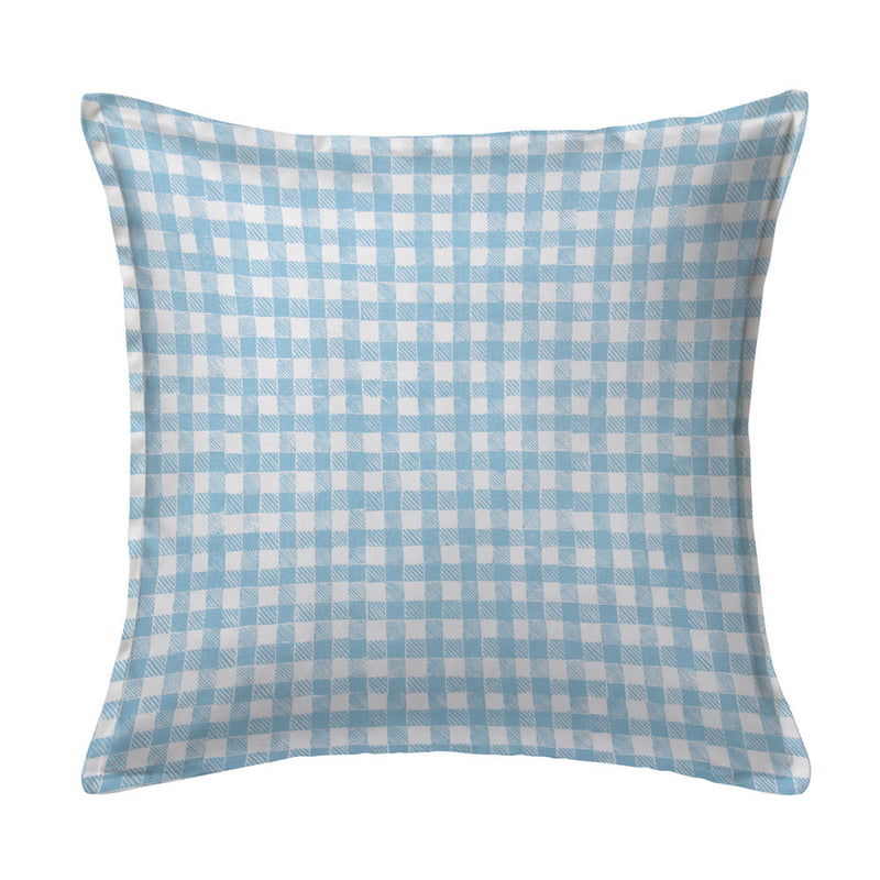 Block Print Gingham Pillow in Light Blue