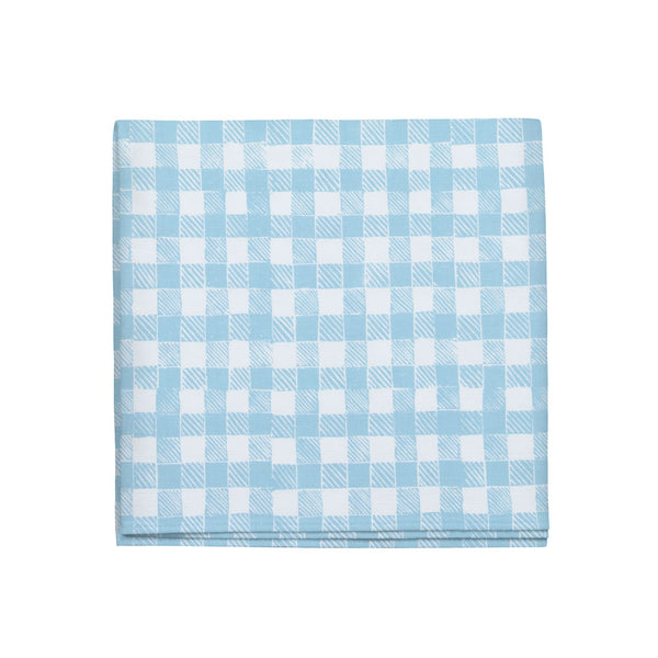 Block Print Gingham Napkins in Light Blue, Set of 4
