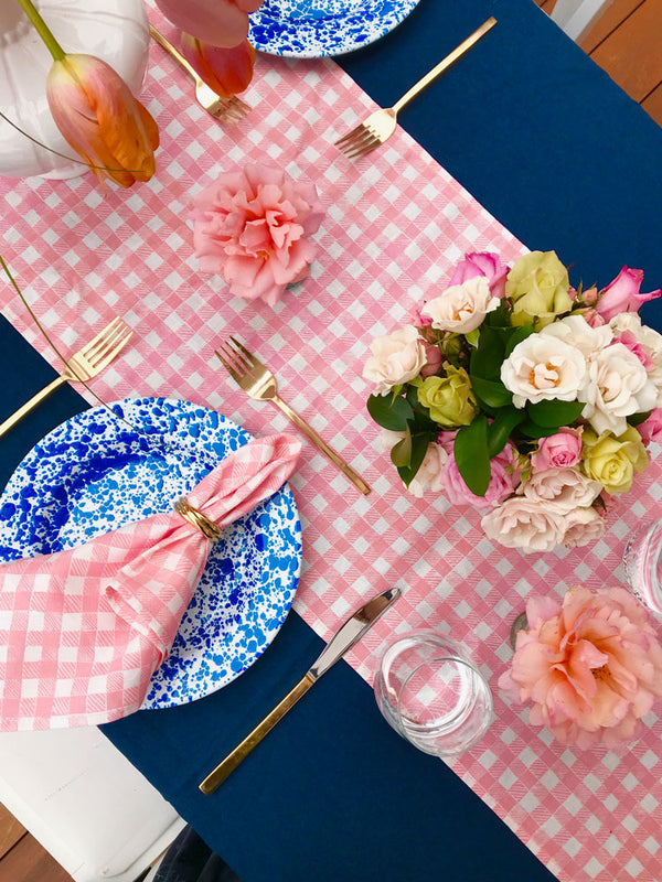 Block Print Gingham Napkins in Pink, Set of 4