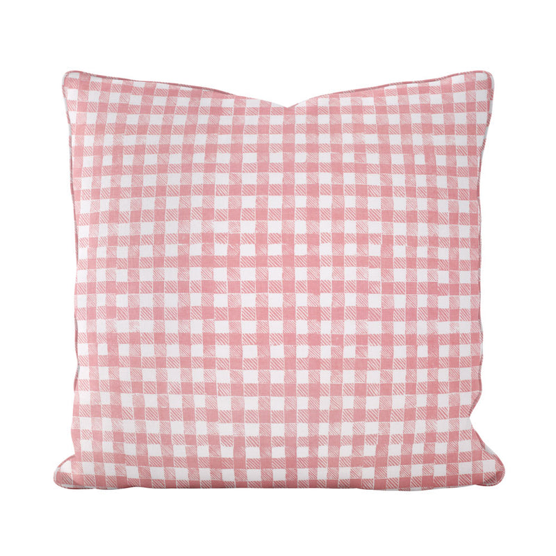 Block Print Gingham Pillow in Pink