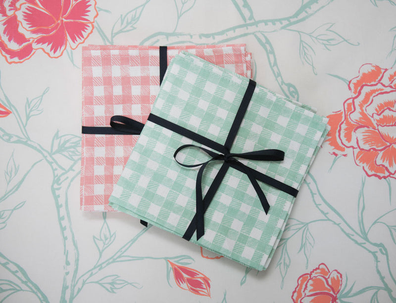 Block Print Gingham Napkins in Green, Set of 4