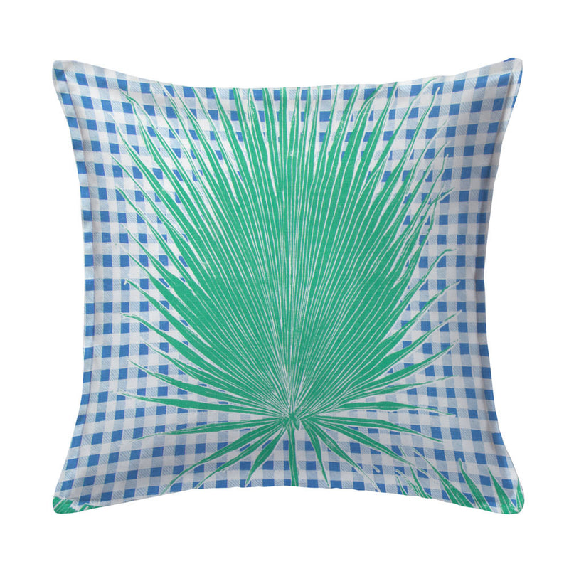 Gingham Jungle Pillow in Blue Chip Day