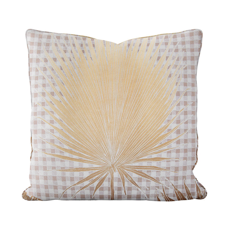 Gingham Jungle Pillow in Gold