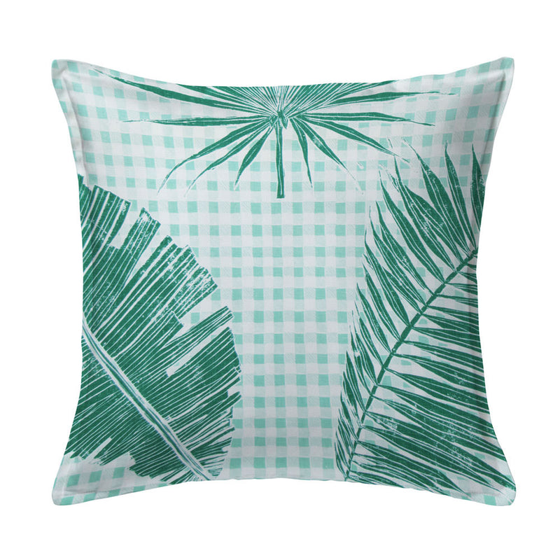 Gingham Jungle Pillow in Jade