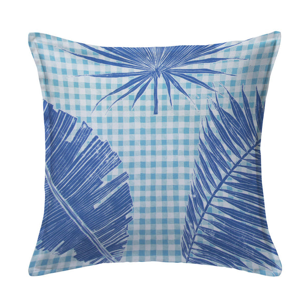 Gingham Jungle Pillow in Lapis