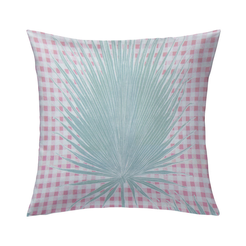Gingham Jungle Pillow in Pink Sage