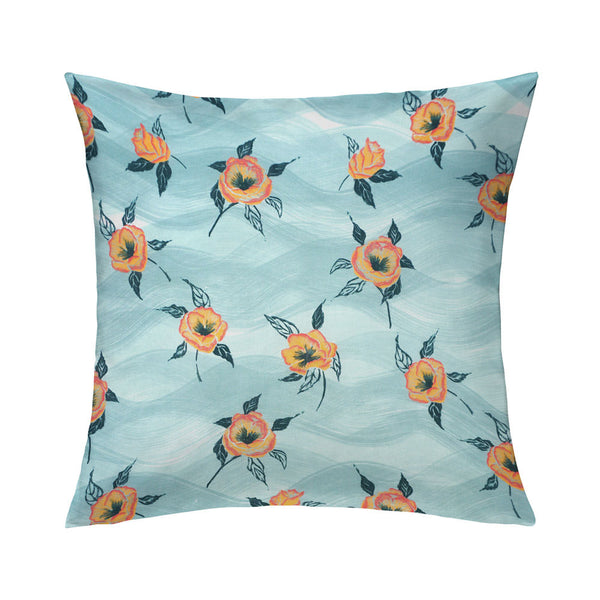 Painted Poppy Pillow in Celadon