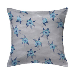 Painted Poppy Pillow in French Blue