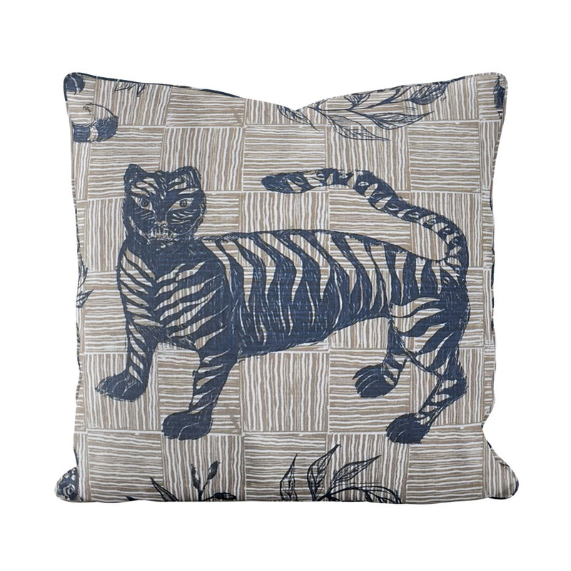 Tiger & Magpie Pillow in Deep Blue