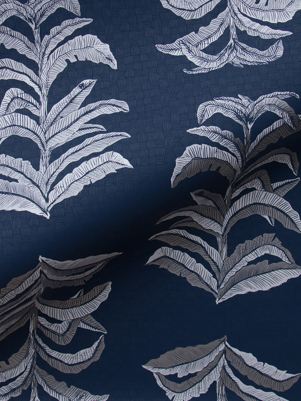 Banana Leaf Wallpaper in Navy