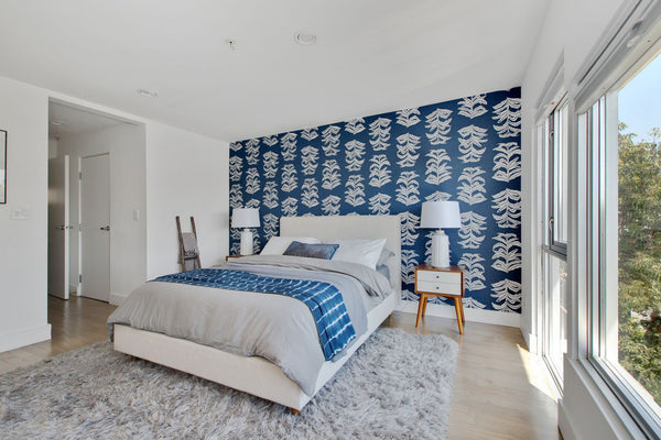 Banana Leaf Wallpaper in Navy, Interiors by Mad Mod Home