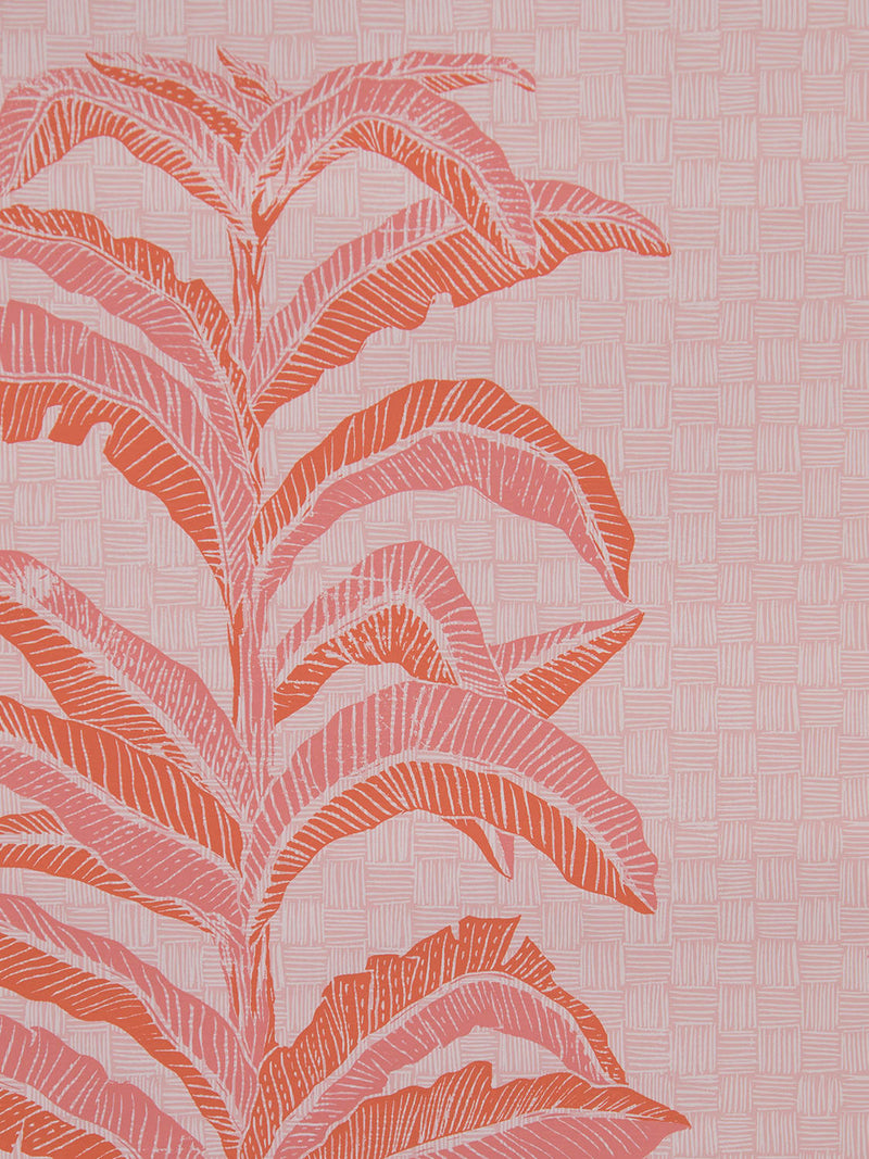Banana Leaf Wallpaper in Coral Pink